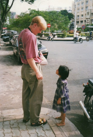 Dr. Griner talking with child